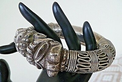 Antique Rajasthan Ethnic Tribal Old DOUBLE LION HEAD Silver Bangle  HEAVY 226grm