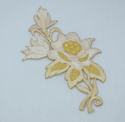 PALE PINK + GOLD ROSE FLOWER Embroidered Iron Sew On Cloth Patch APPLIQUE CRAFT