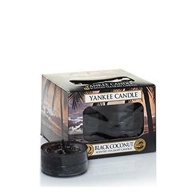 (TG. 8.7x8.8x6.3 cm) Yankee Candle Tea Light Candele Profumate Black Coconut 12