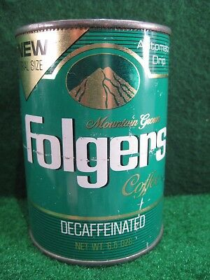 Folger's decaffeinated coffee can.  Trail Size.  GREEN