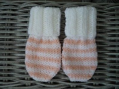 0-3 months hand knitted white and pink striped mittens