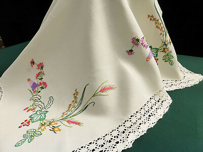 Vintage Irish LinenTablecloth-Hand Embroidered Wild Flowers-Lace Edge