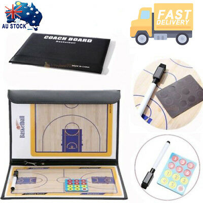Basketball Folding Coaching Tactical Board Sports Coaches Clipboard Dry Erase AU