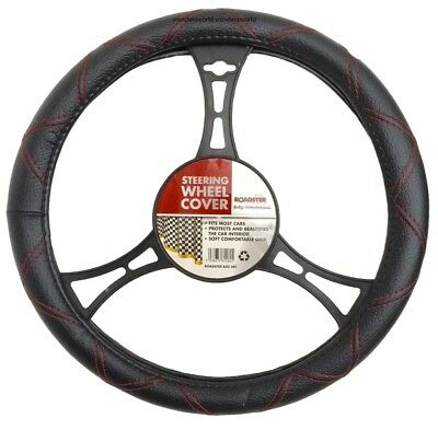 PU Leather steering wheel cover suedue effect 38cm approx Many Design Random