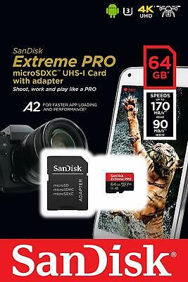 SanDisk 64GB Extreme Pro 170MB/s Micro SD MicroSDXC UHS-I U3 A2 V30 Memory Card