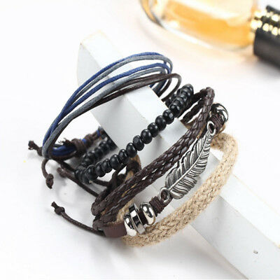 New Men's Braided Leather Stainless Steel Cuff Bangle Bracelet Wristband Fashion