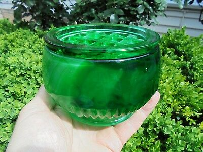 ART DECO ENGLISH DAVIDSON GREEN CLOUD GLASS ROSE BOWL VASE AND FROG c1935