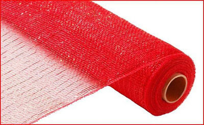 "20"" x 5Yards Roll Mesh Organza Ribbon Christmas gift Decoration red silver gold"