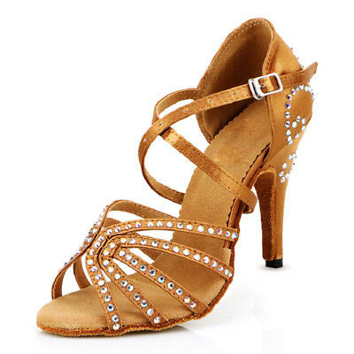 Womens Latin Dance Shoes Salsa 4'' High Heel Satin Ballroom Salsa Dancing Shoes