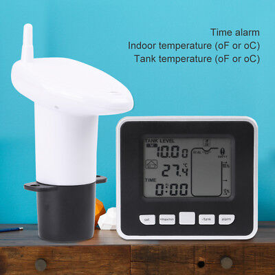 Wireless Ultrasonic Water Tank Liquid Level Meter w/Thermometer Transmitter Kit