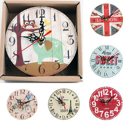 Vintage Style Non-Ticking Silent Antique Wood Wall Clock Home Decor Wall Clock