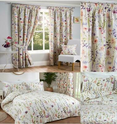 "1 Pair Of SUNDOUR Fully Lined Bright Floral Print Helen 3"" Pencil Pleat Curtains"