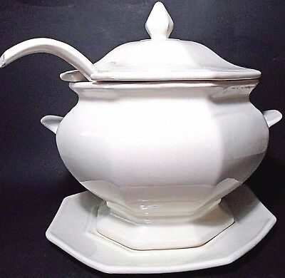 "Vtg Off White Octagon Soup 9.5"" H Tureen Under Plate Ladle California Pottery 63"