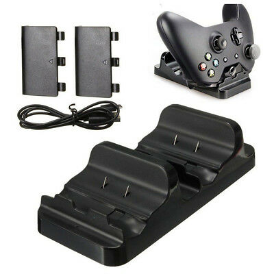 Dual Charging Station Dock Stand + 2 Battery For Xbox One Wireless Controll P6X8