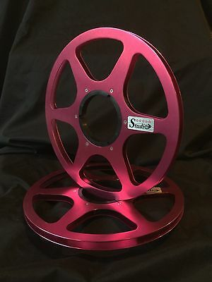 """ONE PAIR   New  10.5"""" Anodized  Aluminum metal Reels  Burgundy Red"""