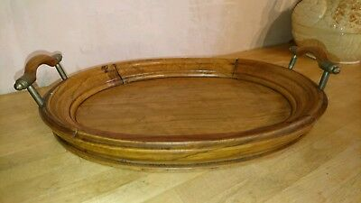 Small Antique / Vintage Oval Wooden Butlers, Drinks Serving Tray.  Maybe WALNUT?
