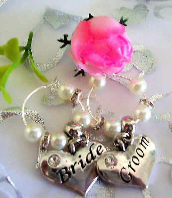 WEDDING BRIDAL PARTY WINE GLASS RINGS SILVER RHINESTONES & PEARLS all colours