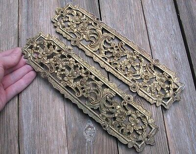 Ornate Vintage Pair of Brass Door Finger Push Plates 1 Pair Left