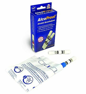 Alcoproof Alcohol Breathalyser Tester Twin Pack Legal French Long Expiry Date
