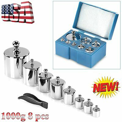 8Pc HFS Scale Balance Calibration Weight Set 10g 20g 50g 100g 200g 1000g Case AL