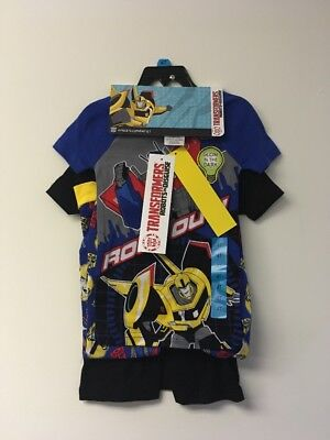 Transformers Boys 4 Piece Sleepwear Set,5. 2 Shirts, Shorts and Long Pants.
