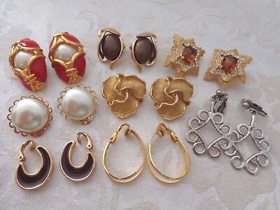 Vintage Lot of Eight Pair of Clip Earrings Avon and Trifari