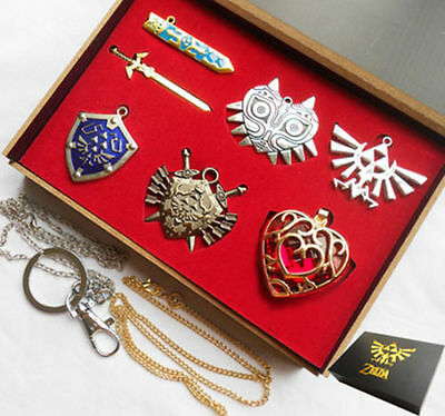 6pcs Legend of Zelda Link Shield Links Necklace Pendant keychain +Chain Gift box