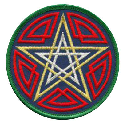 """Celtic Pentagram Clothing Patch 3"""" Embroidered Iron-On or Sew-On Pagan NEW"""