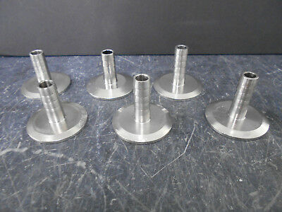 "Lot Of 6 Sanitary Tri-Clamps 1-1 ½"" With 1/2"" Barb Assorted Tube Length 1¼-1 ½"""