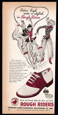Rough Riders children's shoes vintage print ad 1948 - cowboy, horse, bucking