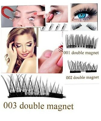 Dual Magnetic Eyelashes 3D  Réutilisable double aimant   False Magnet Eye Lashes