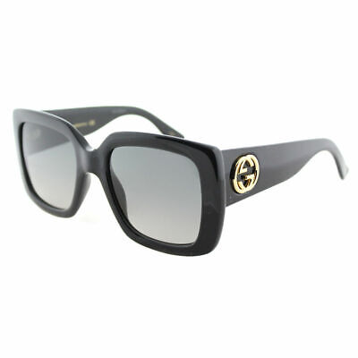 582be722bd Gucci GG0141S 001 Shiny Black Plastic Square Sunglasses Grey Gradient Lens