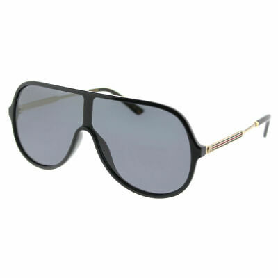 a39266fe261 GUCCI GG 0199S 001 Black Plastic Shield Sunglasses Grey Lens ...