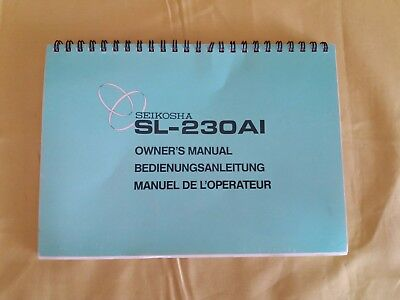Very Rare Printer SEIKOSHA SL230AI Owner's MANUAL Originale User's Guide Vintage