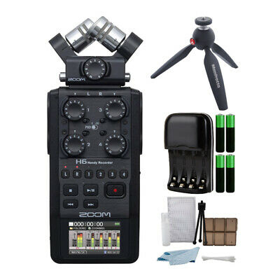 Zoom H6 Portable Digital Audio Recorder with Pixi Tripod and Accessory Bundle