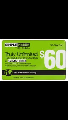 Preloaded SIMPLE MOBILE All in one SIM CARD $60 unlimited 4G with 8GB hot spot