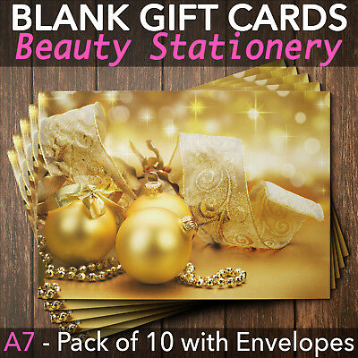 Christmas Gift Vouchers Blank Beauty Salon Card Nail Massage x10 A7+Envelope GB