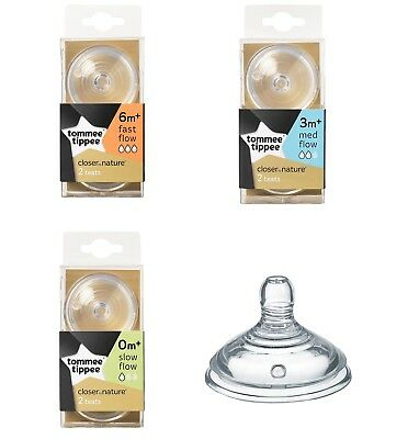 Tommee Tippee Closer to Nature Baby Feed Fast Medium Slow Veri Flow Teats x2 New