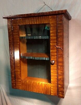 Primitive-Rustic Faux / Tiger Maple Grain Painted Medicine - Wall Cabinet by R.