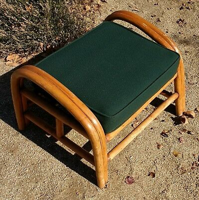 Mid-Century Paul Frankl Pretzel Style Rattan Ottoman with Original Cushion