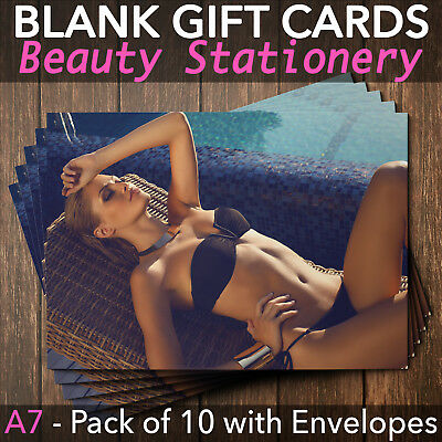 Blank Gift Voucher Card Sunbed Spray Tan Solarium Beauty - x10 + Envelopes