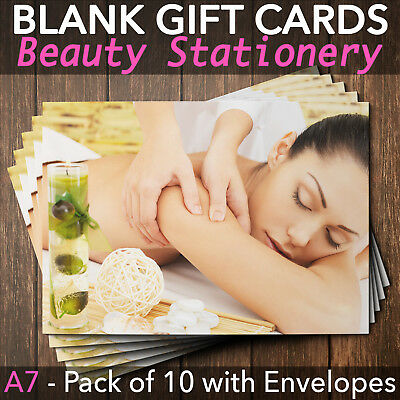 Gift Voucher Card Beauty Massage Reflexology Spa Salons - x10 + Envelopes MAS2