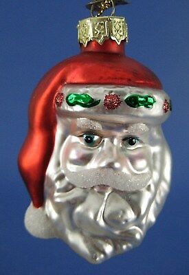 Santa Claus Face Glass Christmas Tree Ornament Thomas Pacconi Holly Trim