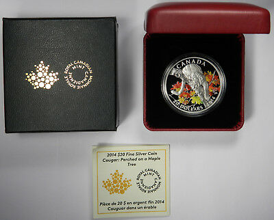 2014 CANADA $20 .9999 1oz SILVER COUGAR PERCHED ON A MAPLE TREE - PRICED RIGHT!