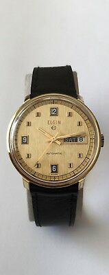 Vintage Elgin Automatic Watch Swiss made 17 Jewels Day & date Mint Condition