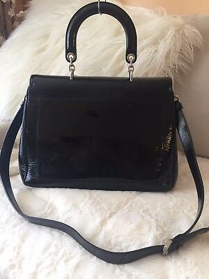 d60a2cdc196 Auth Christian Dior Black Be Dior Large Patent Leather Flap Handbag. NEW