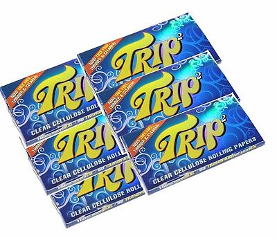 12  Packs 1 1/4 Trip 2 Clear Cellulose Transparent Cigarette Rolling Papers
