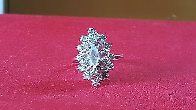 Vintage sterling silver CZ coctail ring.  Size 8
