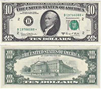 1969-C $10 New York District Star Federal Reserve Note FR 2021-B* Uncirculated