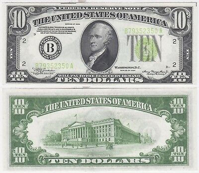 1934 $10 Light Green Seal New York District Federal Reserve Note FR 2004-B Unc.